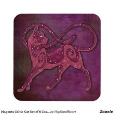 Magenta Celtic Cat Set of 6 Coasters