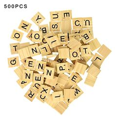 500PCS English Letters Wood Pieces Jigsaw puzzle-5 Full Sets of 100 Letters:   Each set of 100 uses the standard tile distribution for the game: A-9, B-2, C-2, D-4, E-12, F-2, G-3, H-2, I-9, J-1, K-1, L-4, M-2, N-6, O-8, P-2, Q-1, R-6, S-4, T-6, U-4, V-2, W-2, X-1, Y-2, Z-1, and 2 Blanks. These are generic tiles, not from actual Scrabble games, and they are outstanding replacement pieces. Also great for making scrabble tile pendants, crafts, and for spelling practice. CHOKING HAZARD - ...