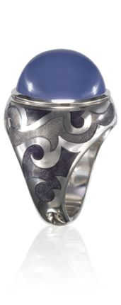 mysterious chalcedony ring, oval cabochon,   18 ct white gold, hand engraved and enamelled