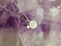 Tiny Charms Necklace with Rhodium Om and mini Pearl Charms, in Sterling Silver, Layering Necklace, Minimalist Necklace, Dainty Necklace