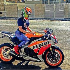 Biker girl on Honda CBR 1000RR Repsol