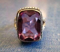 RING - Large -  ALEXANDRITE - Color Change  - Purple - Blue - FILIGREE - Carved Band - 925 - Sterling Silver  - size 7 purple381 by MOONCHILD111 on Etsy