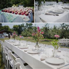 apple theme and vintage plates | An Orchard Wedding with a Pink Wedding Dress: Katie + Ben