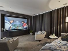 Clever Media Room Ideas In 2020 . - Home Theater Home Theater Basement, Home Theater Room Design, Home Theater Decor, Home Theater Rooms, Home Theater Seating, Basement Bars, Cinema Room Small, Home Cinema Room, Small Movie Room
