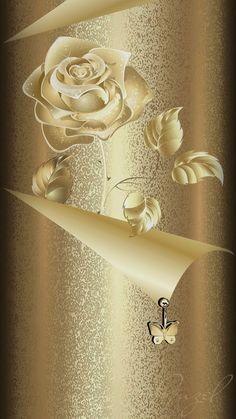 Golden Rose Wallpaper By Artist Unknown Golden Wallpaper, Bling Wallpaper, Flower Phone Wallpaper, Phone Screen Wallpaper, Butterfly Wallpaper, Heart Wallpaper, Cellphone Wallpaper, Mobile Wallpaper, Iphone Wallpaper