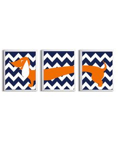 Nursery Girl Boy Art Dachshund Dog Kids Navy Orange Chevron Wall Decor Set of 3 each 11x14