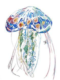 Jellyfish Beach Art Print // Blue Sea Life Ocean Shore Water Creatures Home Decor  // 13x19 or 8.5x11