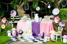 Wow!! You won't want to miss this fabulous Alice in Wonderland 1st Garden tea party! It's amazing!! See more party ideas and share yours at CatchMyParty.com