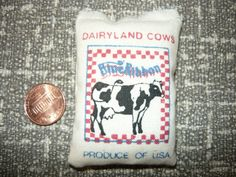 Dollhouse Miniature Feed Bag Sack Dairyland Cows by somethingelse, $2.50