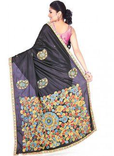 Black Silk Saree with Kalamkari work