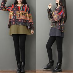 Fashionable Gracila Ethnic Print Layered Long Sleeve O-neck Women T-shirts Online - NewChic Mobile