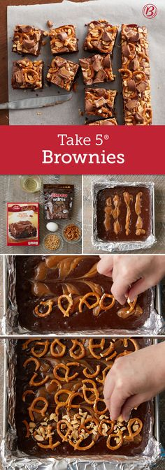 These over-the-top salty-sweet caramel brownies are inspired by our favorite peanut butter pretzel candy bars! With just the right amount of salty crunch and chocolate goodness, you'll love all that's going on in these treats. For easier cutting, use a plastic knife sprayed with cooking spray, or wipe knife clean with a paper towel after each cut.
