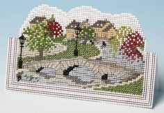 image of English Village Card 3D Cross Stitch Kit