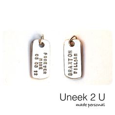 Forever Mine double sided silver pendant with no side more important than the other. Hand stamped with customized information that emotionally connects it to you (it's wearer), signifying an special relationship and/or important milestone in your life. Uneek 2 U, made personal by me. U2U http://instagram.com/p/rEFecMKIxe/