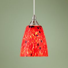 "Possini Red Lava 5"" Wide Art Glass Mini Pendant Light 