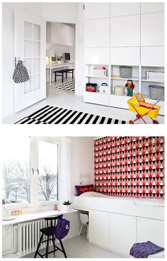 ♥ jmk says:- Love the wall storage for a kid's bedroom/playroom with all the clutter hidden from view but easily accessible.