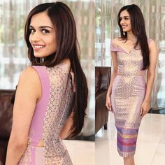 Feb Miss World Manushi Chhillar stepped out in a lovely mauve dress made out of tenun, which is an Indonesian form of weaving different colours of threads to fashion an outfit. Beautiful Bollywood Actress, Beautiful Indian Actress, Beautiful Actresses, Beautiful Women, Miss World, Stylish Girl Pic, Indian Models, Beauty Full Girl, Celebrity Dresses