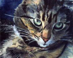 Brown Tabby Cat Art Print of my watercolor von rachelsstudio