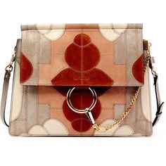 Chloe Faye Suede Patchwork Shoulder Bag ($2,765) ❤ liked on Polyvore featuring bags, handbags, shoulder bags, borse, grey, chloe shoulder bag, grey purse, grey suede handbag, chloe purses and grey handbags
