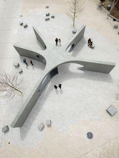 MIT Sean Collier Memorial by Höweler+Yoon Architecture Landscape Plans, Urban Landscape, Landscape Design, Villa Architecture, Concept Architecture, Urban Furniture, Urban Planning, Urban Design, Backyard Landscaping