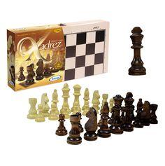 6010.9 - Tabuleiro e Peças de Xadrez  | Com peças padrão oficial, em madeira e com feltro. Tabuleiro em madeira: 40 x 40 cm. Rei: 10 cm. Acompanha regras básicas do jogo. | Faixa etária: + 7 anos | Medidas: 40 x 6 x 20 cm | Xalingo Brinquedos | Xadrez | Crianças