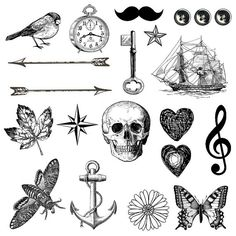 Tiny Tattoo - tattoo pack 21 temporary tattoos - arrow, key, feather, skull, butterflies - for wrists - mothers day
