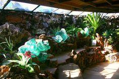 Interior plants and skylights.
