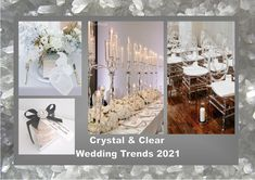 Crystal and clear: According to the fashion industry this will be one of the colors for weddings in 2021. Enjoy! Want to know more about wedding planning... Visit our website - www.ectaint.com Wedding Trends, Industrial Style, Wedding Colors, Wedding Planning, Table Decorations, Weddings, Website, Crystals, Home Decor