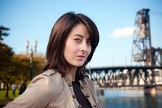 Model Eryka Amber at the Steel Bridge in Portland.