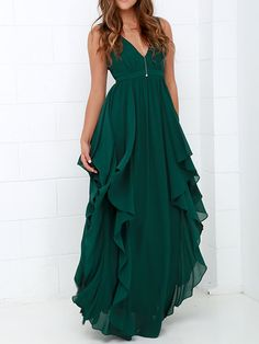 Shop Green Deep V Neck Maxi Chiffon Dress online. SheIn offers Green Deep V Neck Maxi Chiffon Dress & more to fit your fashionable needs.