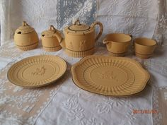 Scarce 7 Pc Wedgwood Caneware Tea Ware Set Jasperware Yellow W Black Cherubs #Wedgwood