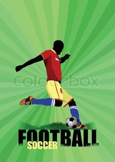 Vector of 'Poster Soccer football player Colored Vector illustration' on Colourbox