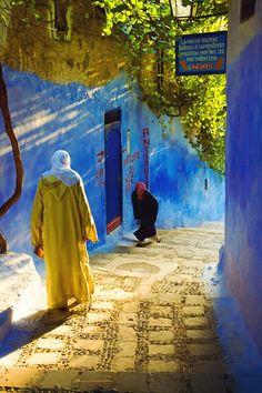 Street scene in Chefchaouen, Morocco