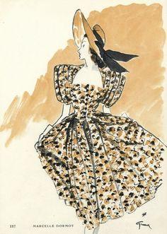 Marcelle Dormoy 1945 Summer Dress, René Gruau