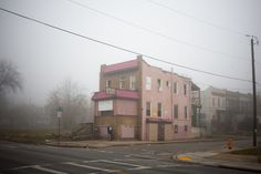 #photography #outdoor #wide #environment #urban #daylight #fog #housing #patrickjoust #white #pink #street