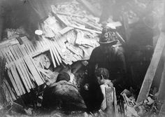 "Rescue workers helping survivors in the wreckage. From ""The Great San Francisco Earthquake: Photographs From 110 Years Ago"" (The Atlantic). Read more: http://www.theatlantic.com/photo/2016/04/the-great-san-francisco-earthquake-110-years-ago/477750/"