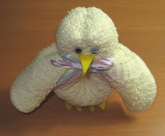 Washcloth chick and washcloth bunny -- super cute for Easter or a baby shower
