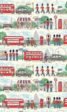 A fun, colourful tribute to our favourite city brimming with London icons . Guards, Beefeaters, buses, taxis and more . set against an unmistakably London landscape . Phone Backgrounds, Wallpaper Backgrounds, Iphone Wallpaper, London Illustration, Pattern Illustration, London Icons, London Art, Cath Kidston Wallpaper, Wallpaper Fofos