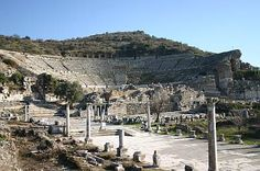 Ephesus, Turkey ~ The Great Theatre of Esphesus. It was first constructed in the 3rd century BC and has a capacity of 25,000. it is said there was a riot against Paul in this theatre.