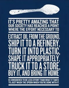 Truth.  Same goes with shopping bags.  Bring your own or carry the two items without a damn bag!