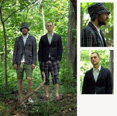 Engineered Garments Fig. 3: Landsdown Jacket in Dk. Grey Glen Plaid, Western Shirt in White Paisley Jacquard, Ghurka Shorts in Natural/Black Peacock Print, Neck... Fig. 11: (L) Andover Jacket and Bucket Hat in Navy/Olive/Red Madras Plaid, Polo Shirt in White Pique, Cambridge Short in Olive Cotton Twill....