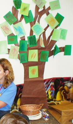 """Kids were provided a leaf rub, green paper, and a crayon while at the craft table.  They colored their """"leaf"""" and then placed it on a branch wherever they would envision Zaccheaus perched so that he could see Jesus."""