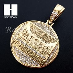 Mens Iced Out Stainless steel Gold Last Supper Charm Round Pendant SS005