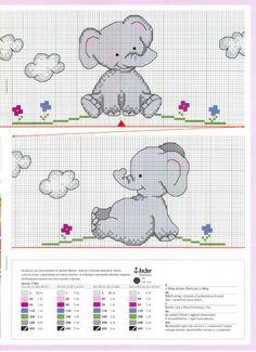 Elefante elephant cross stitch punto Cruz