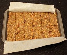 Paleo Granola Bars (S) *Replace dried apples with dried unsweetened cranberries.  Replace honey with stevia.