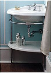 Corner sink with exposed plumming--love!