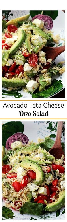 {Mediterranean} Bright, simple, and delicious appetizer salad with Avocados, Feta Cheese and Orzo. - maybe use quinoa instead of orzo? Appetizer Salads, Yummy Appetizers, I Love Food, Good Food, Yummy Food, Tasty, Vegetarian Recipes, Cooking Recipes, Healthy Recipes