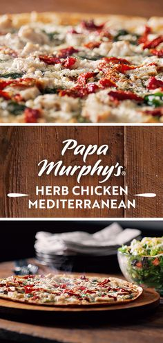 Meet the Herb Chicken Mediterranean – our artisan thin crust topped with garlic, whole-milk mozzarella cheese and grilled chicken, and finished off with spinach, sun-dried tomatoes and fresh feta Mediterranean Chicken, Pizza Bake, Thin Crust, Good Pizza, Menu Items, Dried Tomatoes, Sun Dried, Grilled Chicken, Mozzarella