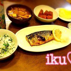 今日は、ほっこり和食で♡ - 92件のもぐもぐ - 菜飯、鯖の塩焼き、豚汁、南瓜の煮物、白菜の和風サラダ、りんご❁.*⋆✧° by ichinana