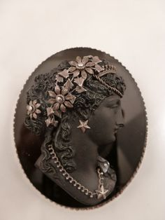 Victorian Jet Hand Carved Cameo Sterling